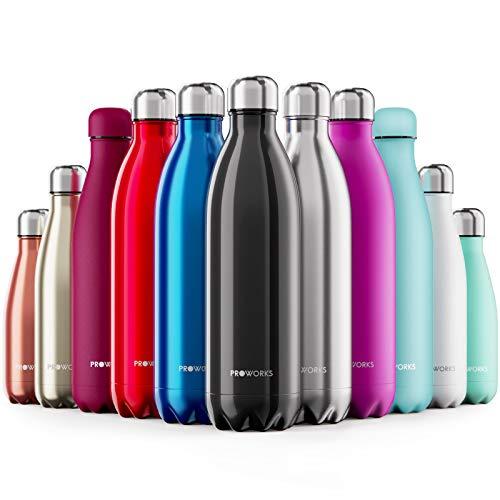 Proworks bottiglia acqua in acciaio inox, senza bpa vuoto isolato borraccia termica in metallo per bevande calde per 12 ore & fredde 24 ore, borraccia per sport, lavoro e palestra - 500ml - nero