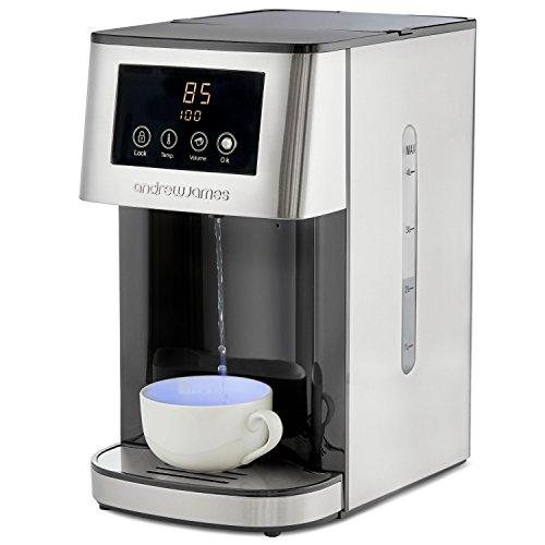 Andrew James 4 Liter Fontaine à Eau Chaude / Distributeur d'Eau Chaude avec 2x Filtres d'Eau et Écran LED