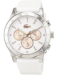 Lacoste 2000940 - Reloj análogico de cuarzo con correa de silicona para mujer, color blanco