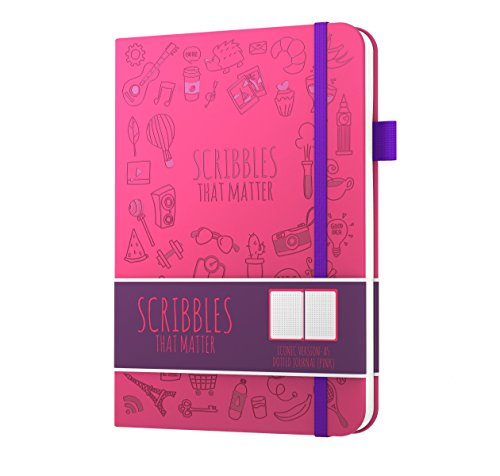 Scribbles That Matter - Dotted Journal Notebook Diary A5 - Premium Thick Paper - Elastic Band - Beautiful Designer Cover (Pink)
