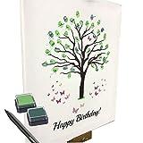 KATINGA Leinwand Zum Geburtstag - Motiv Baum - ALS Gästebuch für Fingerabdrücke (40x50cm, inkl. Stift + Stempelkissen) (Happy Birthday!)
