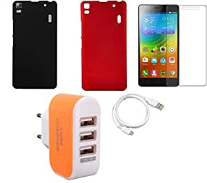 NIROSHA Tempered Glass Screen Guard Cover Case USB Cable Charger for Lenovo K3 Note - Combo