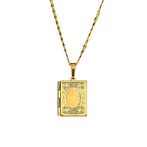 Nuohuilekeji 18K Halskette mit Koran-Medaillon, Unisex