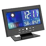 TMISHION Reloj Despertador Digital, Negro Cocina Pantalla táctil Indicador Digital de Humedad de la Temperatura, Confort del Calendario meteorológico, Sala de Estar Dormitorio Despertador