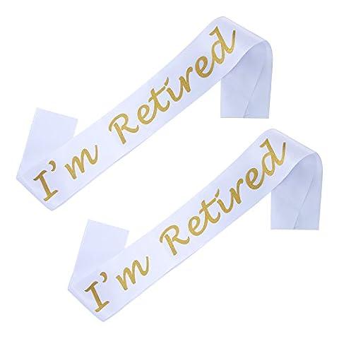 Sumind 2 Pièces I'm Retired Satin Sash pour les Fournitures, Cadeaux et Décorations pour Fêtes de Retraite