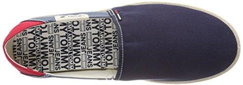 Hilfiger Denim Herren Tommy Jeans Summer Slip on Shoe Slipper Blau (Ink-Jeans-Tango Red 902)
