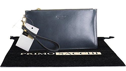Italienisches Leder glänzend strukturierten Kupplung oder Handgelenk Gurt Tasche.Enthält einen Branded schützende Staubbeutel. Dunkelgrau