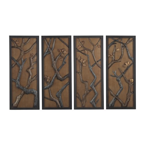 Hiatus-Set Of 3 Hand Cast Branch Wall Panels Mounted On Gold Background -