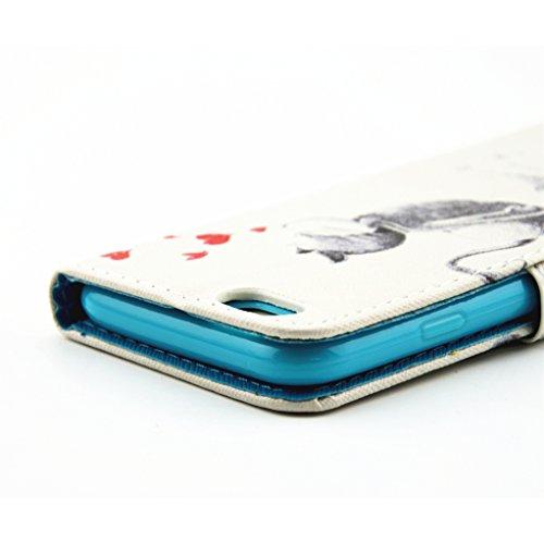 "Trumpshop Smartphone Case Coque Housse Etui de Protection pour Apple iPhone 6/6s Plus 5.5"" + Sexy Model + Ultra Mince Portefeuille PU Cuir Avec Fonction Support Anti-Choc Anti-Rayures Chat mignon"
