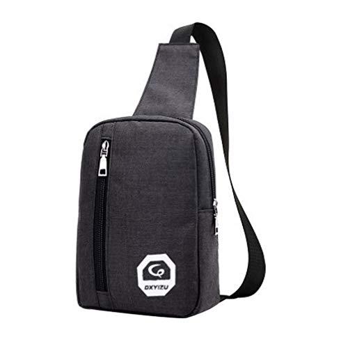 HCFKJ Tasche, Tragbarer Kopfhörerstecker Casual Sport Rucksack Crossbody Umhängetasche Brusttasche (BK)