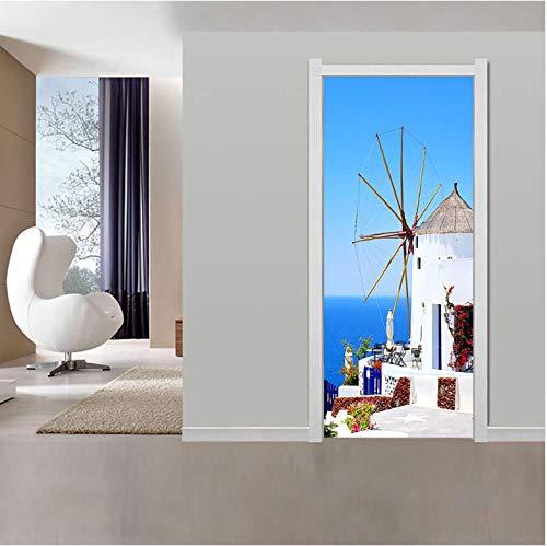 jemdshen Griechische Gastfamilie Tür Aufkleber Tapete Wohnzimmer Schlafzimmer PVC Wasserdicht Selbstklebende DIY Home Decal Decals Paste Großhandel 3D
