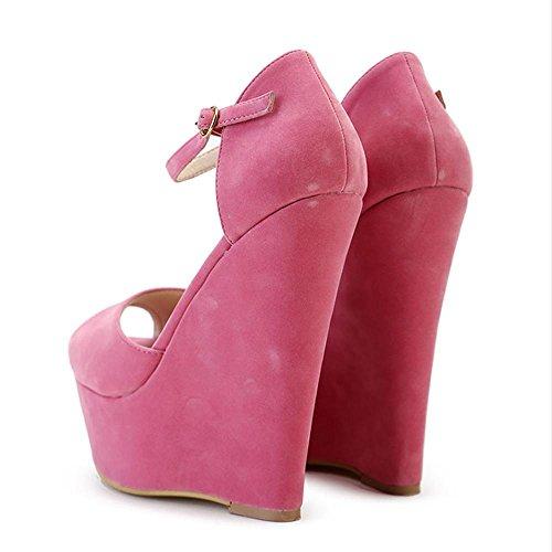 Sexy Sandalen Plattform High Heels Keilabsatz Frauen Schuhe Wedge Sandale Rosa