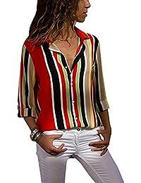7aa3c58405 Mujer Blusa Elegante Escote en V Botones Camiseta de Manga Larga Raya  Estampado Floral Camisetas Tops