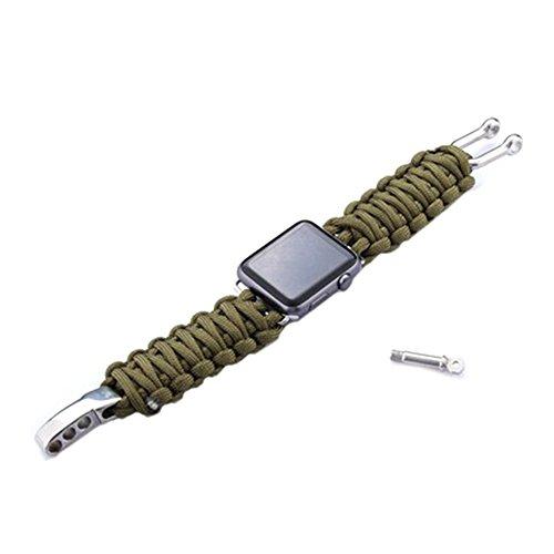 EMVANV 42mm Armbanduhr Band Parachute Cord Line Outdoor Sports Armband Bands Adapter für Apple Smart Watch Strap, armee-grün