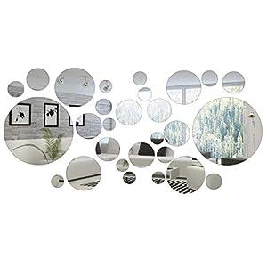 Hicollie 32 Stück Runde Kreis Spiegel Einstellung Wand Aufkleber Entfernbare Wandkunst für Wohnzimmer Schlafzimmer Büro Dekoration Aufkleber