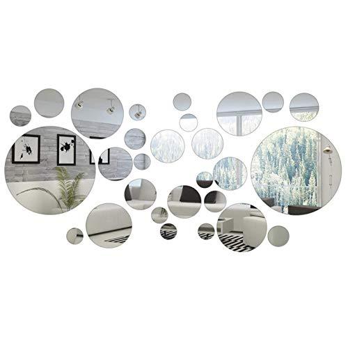 Hicollie 32 Stück Runde Kreis Spiegel Einstellung Wand Aufkleber Entfernbare Wandkunst für Wohnzimmer Schlafzimmer Büro Dekoration Aufkleber -