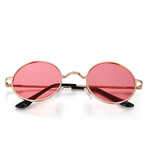 Menton Ezil Runde Retro Lennon Sonnenbrille Vintage Polarisierte Linsen Metall Gestell Rundbrille Hippi Brille Outdoor-Brille für Frauen und Männer (Rot)