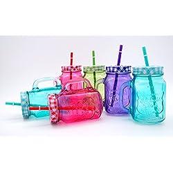 Couleur des verres à boire en verre avec couvercle et paille-lot de 6 gobelets en set (4 couleurs)