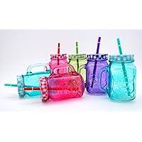 MC-Trend - Vasos de colores con tapa y pajita (6 unidades, 4 colores diferentes)
