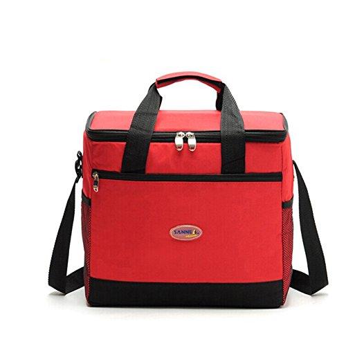 Bonnoeuvre16l Bolsa Térmica Porta Alimentos bolsa de almuerzo Nevera Portátil para Enfriamiento Alimentos Almuerzo Lunch Bag (Rojo)