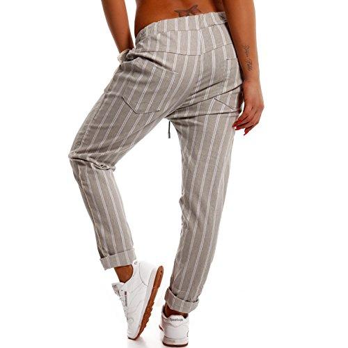 Damen Boyfriend Hose Jogger Style Freizeithose Streifen Look Grau