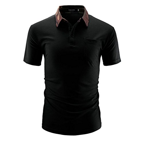 KPILP Mens Shirt Father's Day Gift Pure Color Mens Casual Short Sleeve Polo Shirt