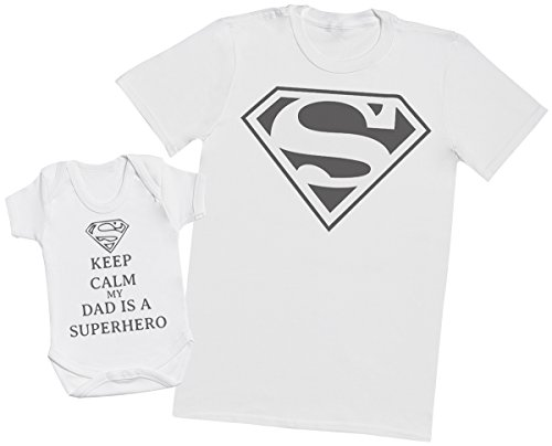 Keep Calm Dad Is A Super Hero - Camiseta del papá y Bebé Niño Niña