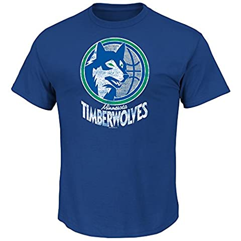 NBA Minnesota Timberwolves 1989-95 Men's T Wolves Weathered Post Up Kaa Short Sleeve Basic Crew Neck T-Shirt, Royal,