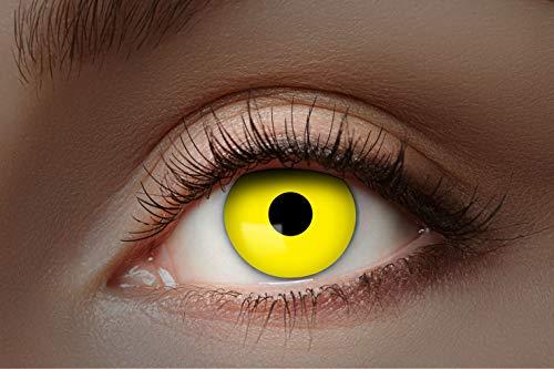 Eyecatcher Color Fun - Farbige UV Kontaktlinsen - Flash Yellow / Gelb - leuchten bei Schwarzlicht - 1 Paar - Ideal für Karneval, Fasching, Halloween & Party
