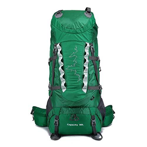 Mochila de Senderismo Mochila de Viaje de Senderismo, Bolsa de Deportes al Aire Libre de Nylon Grande de 80L for Acampar, Cazar, Trekking, Viajar y Escalar montañas (Color : Green, Size : 80CM)