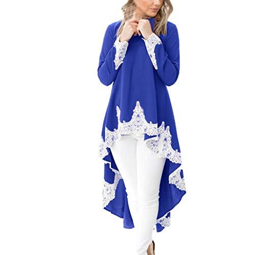 ngärmeliger beiläufiger Ausschnitt Pullover für Frauen Unregelmäßiger Rand Einfarbig Spitzenkleid (Large, Blau) ()