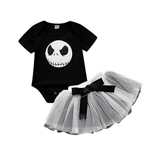 VRTYOC Abito da Bambina Espedienti di Halloween,Gonna in Tulle Tutu Bowknot, Pagliaccetto Vestiti Siamesi Manica Corta Stampa Teschio Nero 70