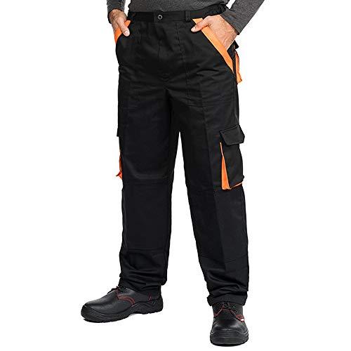 Pantaloni da Lavoro Uomo con Tasche per Imbottitura, Taglie Grandi Fino S-3XL, Salopette da Lavoro Colori Diversi, Tuta da Lavoro Uomo qualità (XL, Nero)