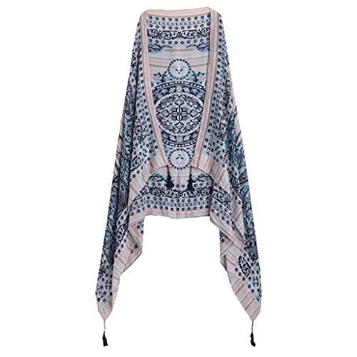 Lomsarsh Frauen blau gedruckt lässig Schal Wrap Schal - lange weiche Schal Gaze Urlaub Handtuch Strand Sonnencreme Handtuch Schal - Hand Gedruckt Floral Wrap