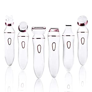 Ladies Electric Shaver, 6 in 1 Rechargeable Facial Razor, Bikini Trimmer, Face Cleaning Brush - Wet Dry Use, 6 Interchangeable Heads for Precise Trimming Remover for Legs, Armpit