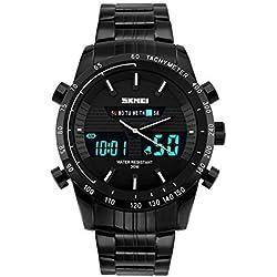 SKMEI Sport SK1131A Men's Multi Function Large Numbers Dual Display Waterproof All Black Watch(White)