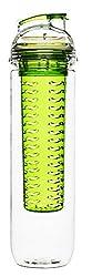 Sagaform Trinkflasche mit Früchteinsatz, Kunststoff, transparent/grün, 7x7x28 cm