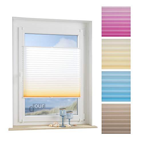 ourdeco® Plissee / 110 x 130 cm weiß-orange/lichtdurchlässig, Blickdicht/Farbverlauf: azurblau, orange/Klemmen=Montage ohne Bohren=Smartfix=Klemmfix-Plissee=Easy-to-fix