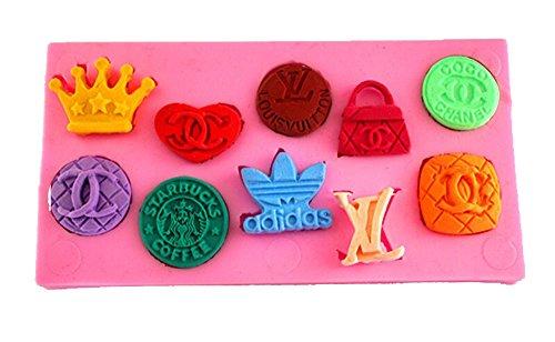 Longzang Famous Brand Logo Art Deco Silicone Mold Sugar Craft DIY Gumpaste Cake Decorating Clay