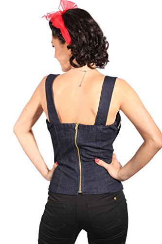 Denim Uniform rockabilly pin up Cherry Jeans Corsage TOP incl Pads -