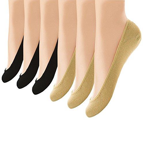 Ueither 6 Paia di Donna Calzini Fantasmini Invisibili Calze Antiscivolo in Silicone...