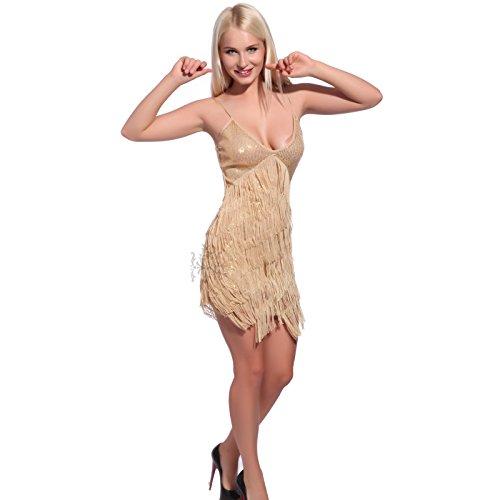 Sexy 20er Golden Gr.M Fransen Flapper Kleider Fransenkleid Hochzeitkleid Tanzkleid Partykleid Mini Charleston Kleider