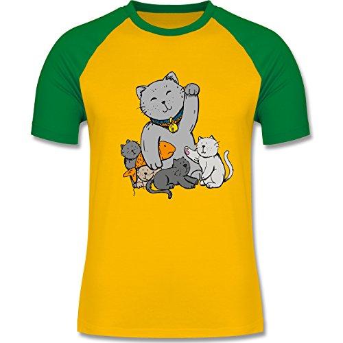 Weihnachten & Silvester - Winkekatze - zweifarbiges Baseballshirt für Männer Gelb/Grün