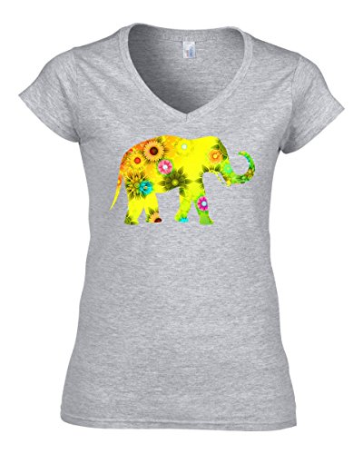 Beautiful floral elephant glitch art dammen V-neck baumwolle t-shirt Grau