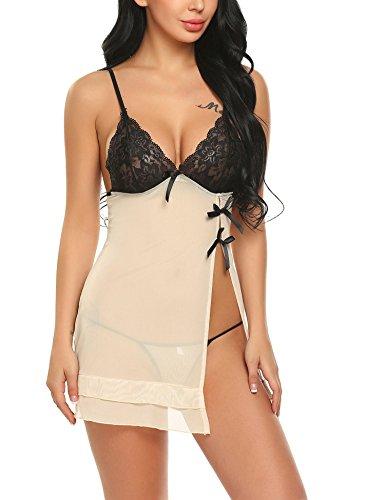 Meaneor_Fashion_Origin Sexy Negligee Nachtwäsche Nachthemd Spitze Lingerie Nachtkleid Babydoll Dessous Reizwäsche Sleepwear Kleid mit String für Damen