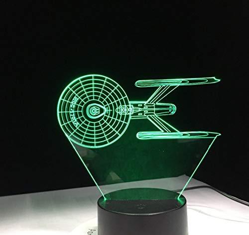 Cuirassé 3D USB LED Lampe Spacecraft Star Trek USS 7 Couleur Changeante Nuit Lumière Cool Garçon Chambre Décoration Cadeau