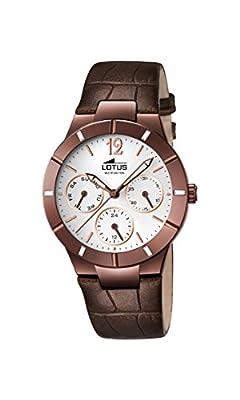 Lotus - Reloj de cuarzo para mujer, correa de cuero color marrón