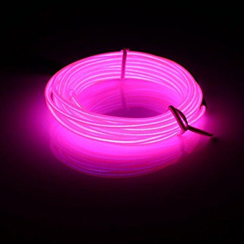 MASUNN 3M El LED Flexible Soft Tube Fil Neon Glow Voiture Corde Bande Lumière Xmas Decor DC 12V-Rose