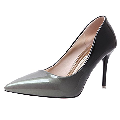 Oasap Damen Spitz Low-Top Stiletto Gradient Pumps Grey