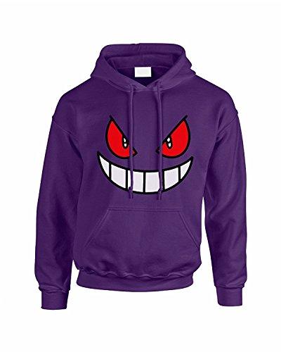 Sweatshirt mit Kapuze, Motiv, bedruckt, Gesicht, von Gengar violett dunkelviolett X-Large